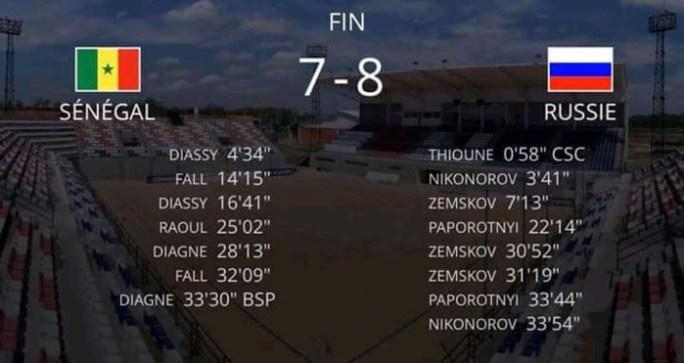 Mondial Beach soccer : Le Sénégal perd d'entrée contre la Russie (8-7)