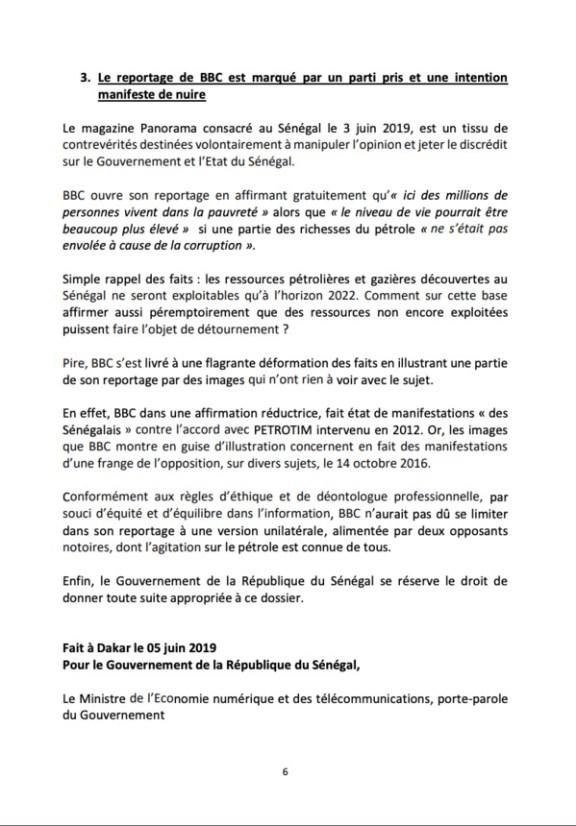 Voici en exclusivité le mémorandum du gouvernement Sénégalais sur le scandale à 10 milliards !
