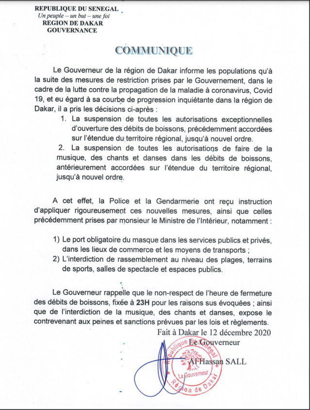 Coronavirus- Le communiqué du gouverneur de Dakar