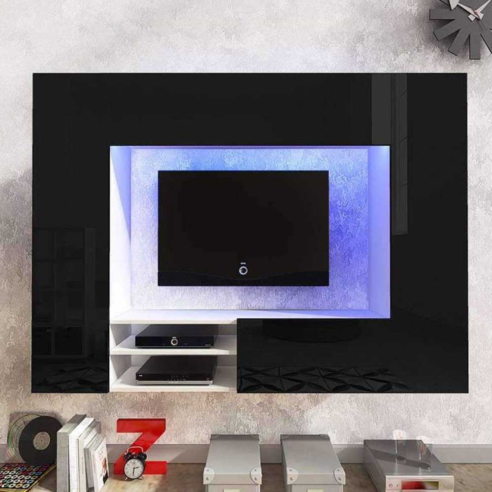 Net Tv Wall Unit Black Dako Furniture