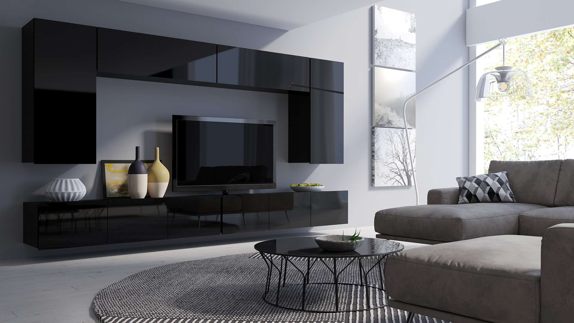 Living Room Furniture Set Colambrini 13 Black Gloss Dako Furniture