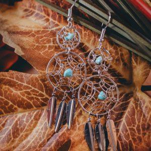 Turquoise Mountain Dreamcatcher Earrings