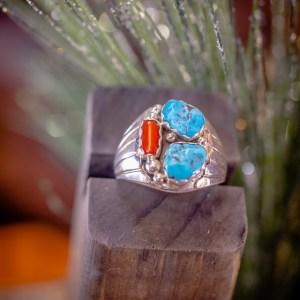 Sleeping Beauty & Coral Ring Sz. 13