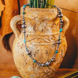 """Navajo Pearl & Turquoise Necklace 16"""""""