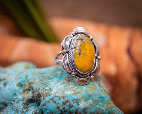 Bumblebee Jasper Ring Sz. 7.5