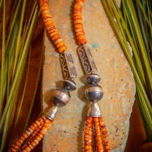 Spiny Oyster & Navajo Pearl Necklace