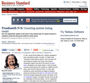 Opinion page on Business Standard