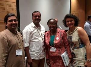 Taghreed Adam from WHO-Alliance, Irene Agyepong from Health Systems Global, U T Khadar from Government of Karnataka and myself after the panel discussion on advancing application of systems thinking in health