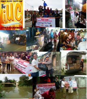 Posko Pemuda Peduli Banjir menerima dan menyalurkan nasi bungkus, sembako,obat-obatan, keperluan bayi dan wanita serta air mineral