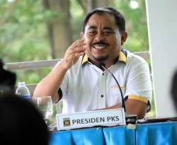 Presiden Partai Keadilan Sejahtera (PKS) Luthfi Hasan Ishaaq. (Arief Karel)
