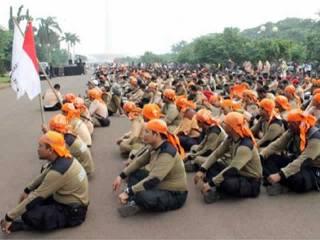 Apel Siaga PKS Jakarta di Silang Monas, Ahad (3/1/13). Acara yang diikuti oleh 500 kepanduan PKS dari DKI Jakarta ini, dipimpin oleh Sekretaris DPW PKS DKI Jakarta Tubagus Arief. (ist)