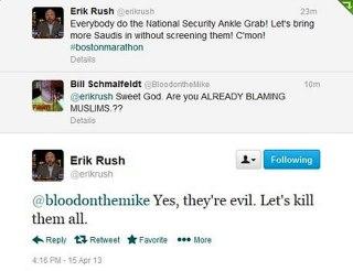 Cuplikan twitter @erikrush yang membenci umat Islam. (twitter)