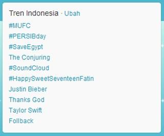 Trending Topic Twitter di Indonesia, tanggal 30 Juli 2013 pukul 08:34 WIB. (dakwatuna/hdn)