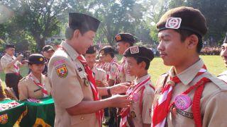 Wakil Walikota Bogor saat perayaan Hari Pramuka kd-52 di Bogor, Sabtu (24/8/13)