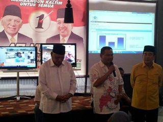 Masykur Sarmi'an, ketua DPW PKS Kaltim saat memberikan sambutan setelah pengumuman quick count. Selasa,10/9/13