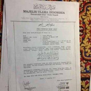 Bukti surat Jonas Rivanno telah menjadi mualaf (foto: Alan Pamungkas/Okezone)