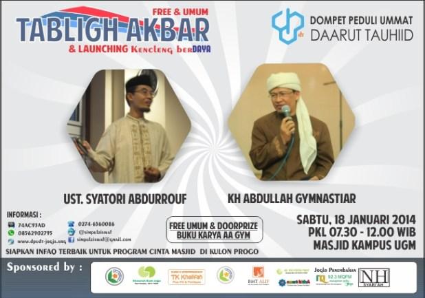 Poster Tabligh Akbar bersama Ust. Syatori Abdurrouf dan KH Abdullah Gymnastiar (Aa Gym), Sabtu 18 Januari 2014. (ist)