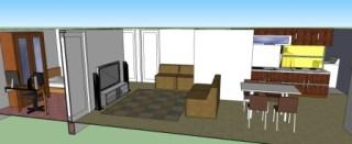 ruang makan dan ruang keluarga