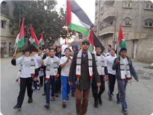 Aksi Solidaritas untuk  Suriah oleh para Penghafal Quran di Gaza (Foto: pip)