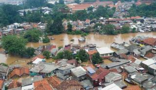 Foto udara banjir jakarta (Foto: viva.co.id)