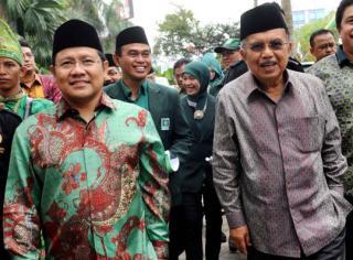 Jusuf Kalla dan Muhaimin Iskandar saat deklarasi Pencapresan di Banjarmasin (Foto:merdeka.com)