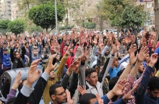 Demonstrasi tiba-tiba mahasiswa Al-Azhar di dekat Medan Rabiah Al-Adawiyah (rassd)