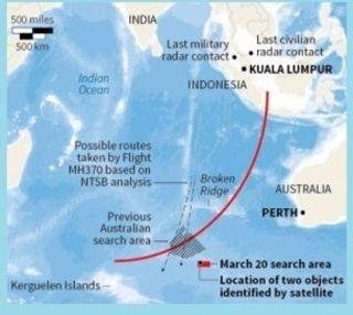 Area Pencarian Puing-pung MH370 yang terdeteksi citra satelit - Foto: Reuters