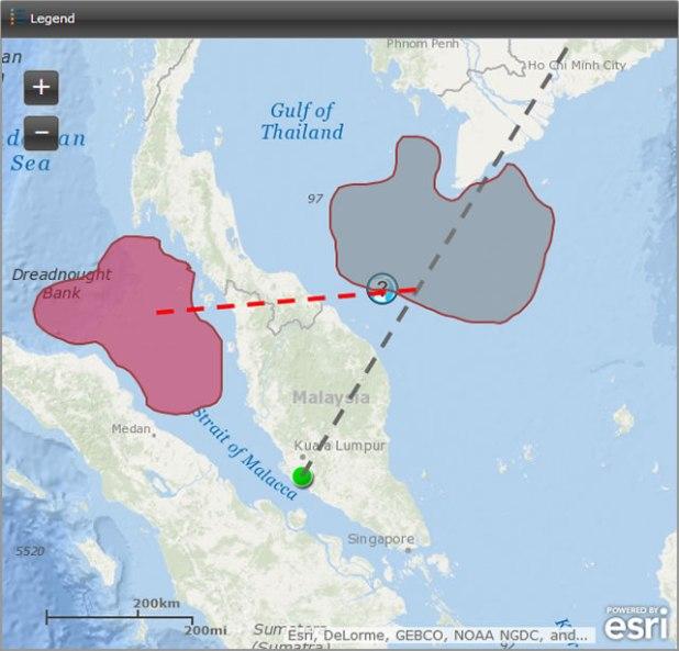 Peta di atas menyoroti area pencarian, pada tanggal 11 Maret 2014, untuk pesawat Malaysia Airlines yang hilang. (Foto: Mashable.com / esri.com)