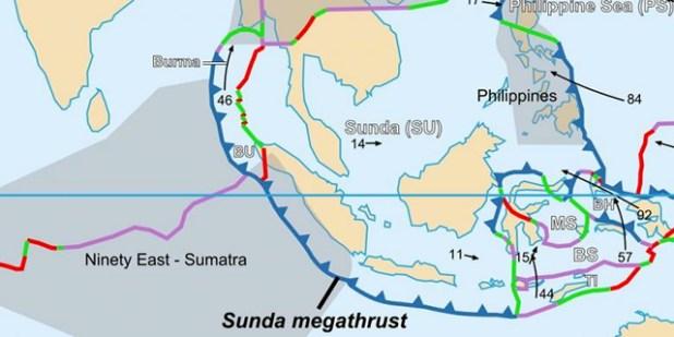 Setting lempeng tektonik Sunda Megathrust. (Foto: wikipedia)