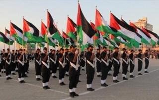 Upacara wisuda angkatan kepolisian baru Palestina di lapangan Yarmuk Jalur Gaza (paltimes)