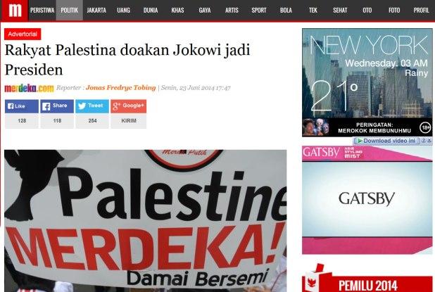 "Cuplikan situs merdeka.com yang memuat berita hoax berjudul ""Rakyat Palestina doakan Jokowi jadi Presiden"" pada Senin Sore (23/6/2014) dengan label ""advertorial"". (dakwatuna/hdn)"