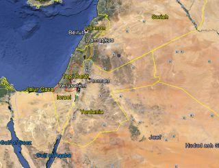 Cuplikan dari aplikasi Google Earth yang menggambarkan peta Palestina yang terbagi dua akibat dijajah Israel, menjadi Tepi Barat dan Jalur Gaza. (dakwatuna/hdn)