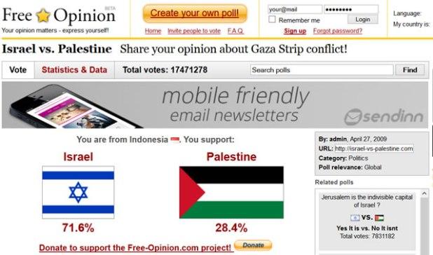 Cuplikan situs israel-vs-palestine.com. (dakwatuna/hdn)