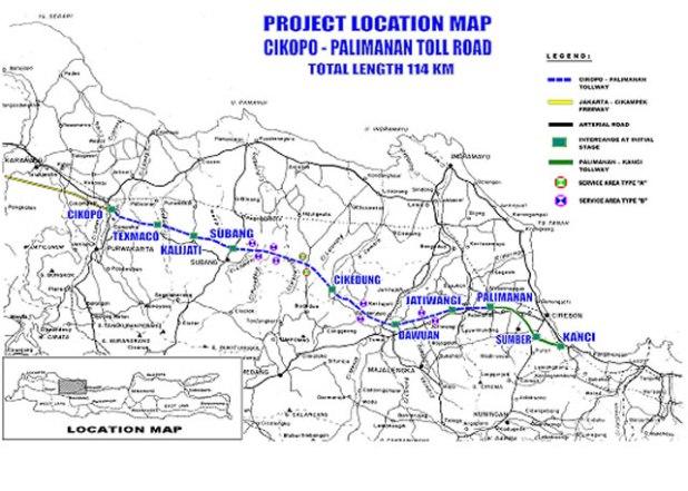 Peta rute Tol Cikampek - Palimanan. (bukaka.com)