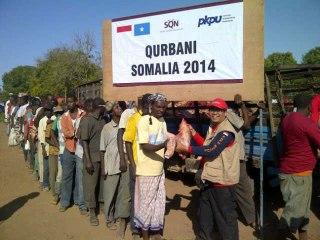 Aksi Tim Qurban Afrika 2014 dan Tim Kemanusiaan Afrika 2014 dari PKPU. (Nana Sudiana)
