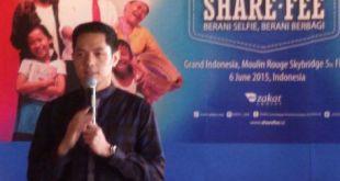 """Dude Herlino saat launching program """"Sharefee: Berani Selfie, Berani Berbagi"""", Sabtu (6/6/2015).  (sasa/kis/pkpu)"""