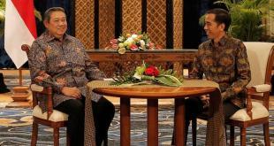 Presiden ke-6 Susilo Bambang Yudhoyono dan Presiden Joko Widodo melakukan pertemuan empat mata membahas proses transisi kepemimpinan, di Laguna Resort and Spa, Nusa Dua, Bali, Rabu (27/8) malam. (kompas.com)