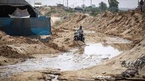 Wilayah Jalur Gaza yang dialiri air laut oleh militer Mesir. (alresalah)