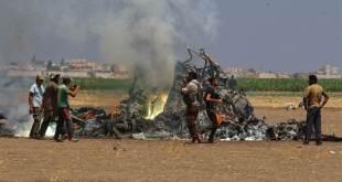 Helikopter Rusia yang jatuh dan hangus terbakar di Suriah. (Islammemo.cc)