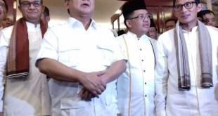 (kiri ke kanan): Anies Baswedan, Prabowo Subianto, M Sohibul Iman, Sandiaga S. Uno. (detik)