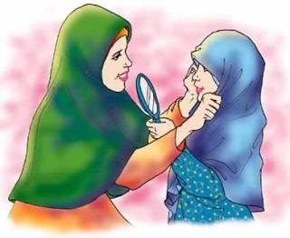 Ilustrasi - Ibu memakaikan kerudung ke anak (blogspot.com - serambidakwah)