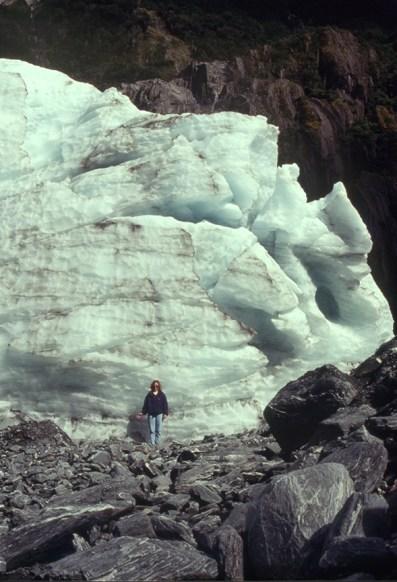 Laura with Franz Josef Glacier