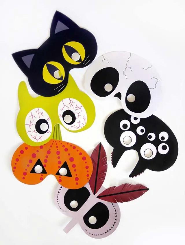 Máscaras imprimibles de Halloween para niños - Dale Detalles
