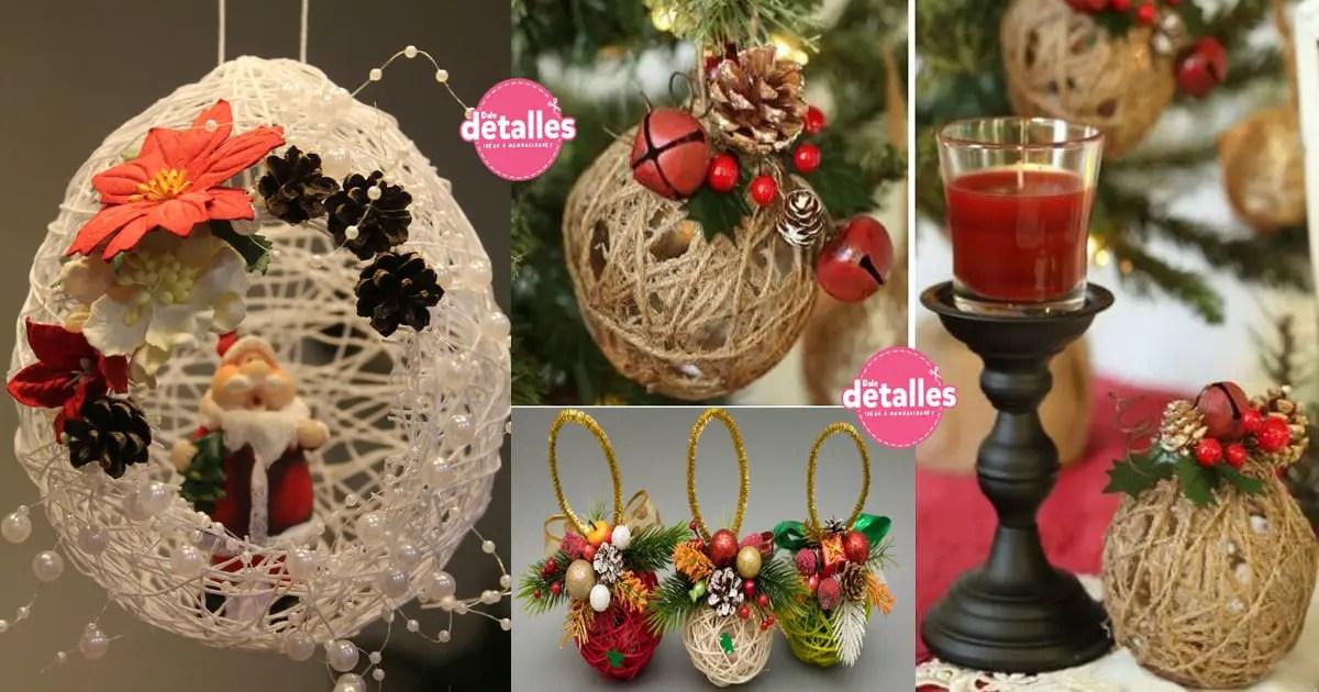 Decoraciones Navidenas Con Esferas De Hilos O Lana Dale Detalles - Ideas-decorativas-navideas