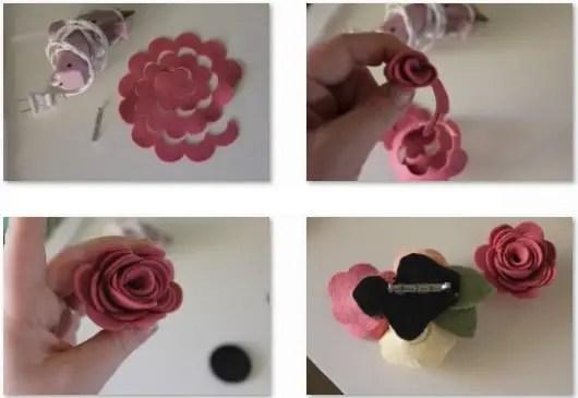 C mo hacer un broche con rosas de fieltro dale detalles - Como hacer figuras de fieltro paso a paso ...