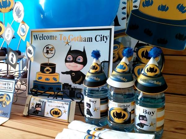 Baby shower batman dale detalles for Dekoration fur babyparty