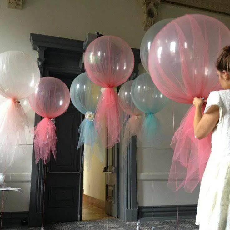 Decoraciones con globos y tul dale detalles for Decoracion con globos precios