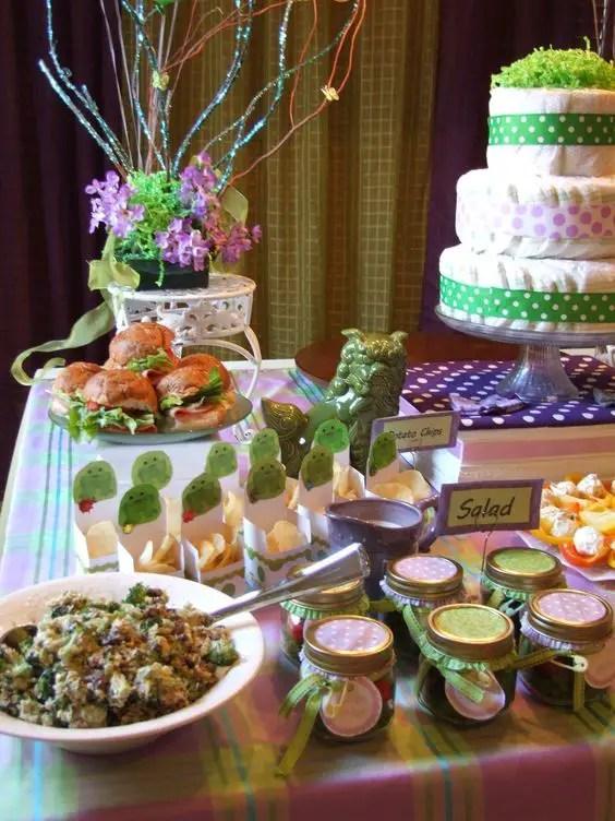 baby shower en tono purpura y verde19
