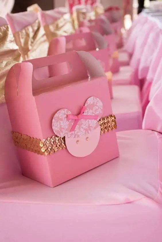 Minnie mouse en dorado y rosa dale detalles for La table de mimi