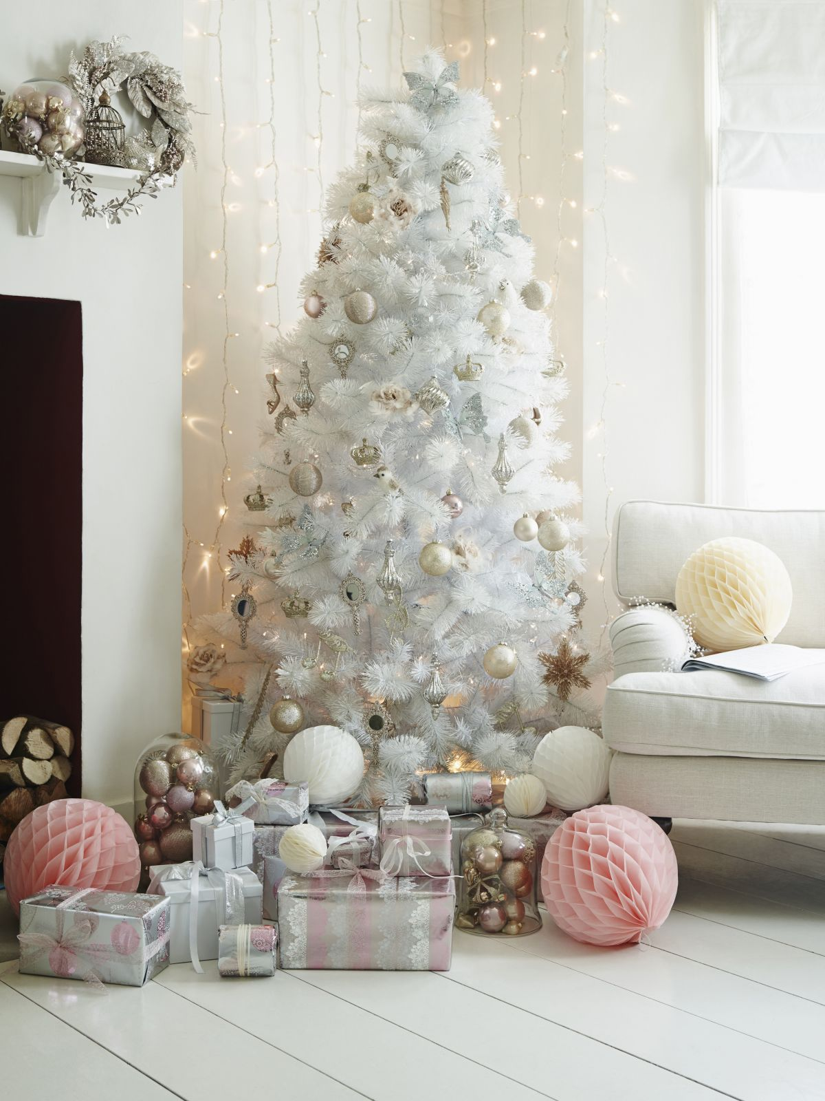 Decoraci n para rboles de navidad blancos dale detalles - Arboles de navidad blanco ...